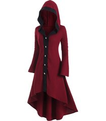 plus size hooded button front asymmetrical long cardigan