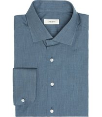 camicia da uomo su misura, albini, flanella microspiga azzurra, autunno inverno | lanieri