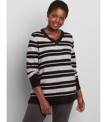 lane bryant women's lane essentials v-neck split-side sweater 14/16 black/ lt grey heath