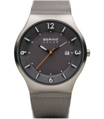 bering men's slim solar stainless case and mesh watch