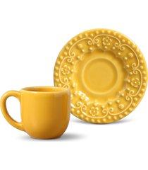 jogo de xícaras de café porto brasil 6 peças esparta mostarda