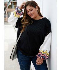 plus suéter redondo bordado de patchwork negro talla cuello