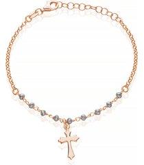 bracciale in argento bicolore con croce per donna