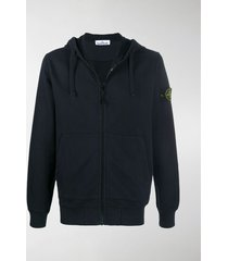 stone island compass-patch zip-up hoodie