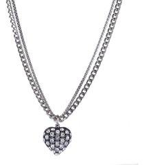 colar armazem rr bijoux curto coração cristais cravejados prata