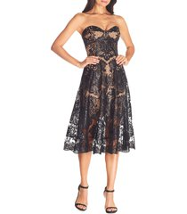 women's dress the population sadie strapless fit & flare dress