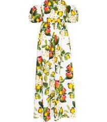 borgo de nor juliette lemon-print maxi dress - white