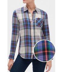 blusa drapey cuadrille azul gap