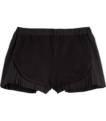 pleated cotton blend shorts