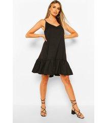 swing jurk met bandjes en losvallende zoom, black