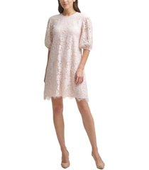 calvin klein lace balloon-sleeve dress