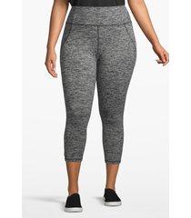lane bryant women's active spacedye capri legging - crisscross back 22/24 black/white