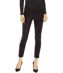 seven metallic velvet high waist ankle skinny jeans, size 27 in metalc blk at nordstrom