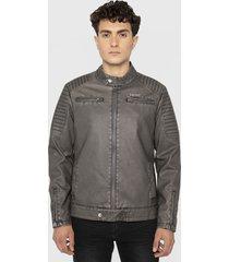 chaqueta ellus stain pu moto jacket gris - calce regular