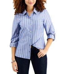 tommy hilfiger cotton striped utility shirt