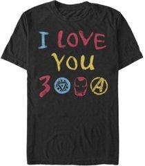marvel men's avengers endgame iron man hand drawn i love you 3000, short sleeve t-shirt