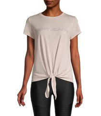 dkny women's tie-front logo top - iconic blush - size xs