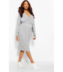 zwangerschaps gebreide geribbelde wikkel trui jurk, grijs gemêleerd