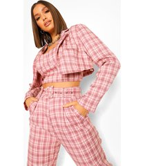korte geruite getailleerde blazer, pink