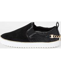 river island womens black slip on chain trainer