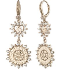 marchesa gold-tone pave & imitation pearl heart & coin double drop earrings