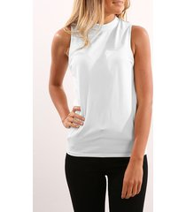 chiffon high neck tank top in white