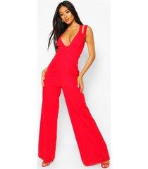 cut out strap plunge wide leg jumpsuit, red