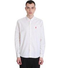 ami alexandre mattiussi shirt in beige cotton
