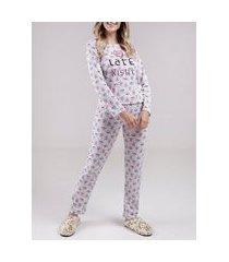pijama longo feminino branco/multicolorido