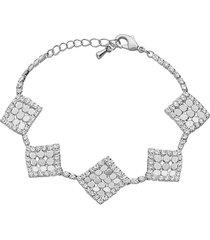 bracciale con strass e dettagli rombo in metallo rodiato color argento per donna