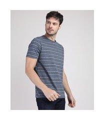 camiseta masculina listrada manga curta gola careca azul