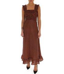 maxi-jurk met gesmokte taille en ruitpatroon