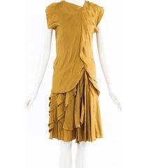 bottega veneta ruffled silk midi dress gold sz: s