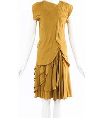 bottega veneta ruffled silk midi dress