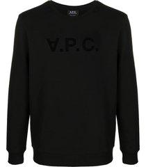 a.p.c. black cotton sweatshirt