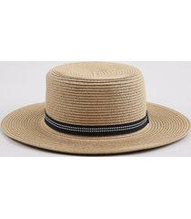 chapéu feminino com faixa pespontada bege escuro