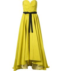 bambah ruched bustier bow gown - green