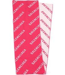 balenciaga pink and white scarf