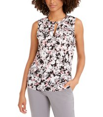 nine west floral-print pleated-neck keyhole blouse