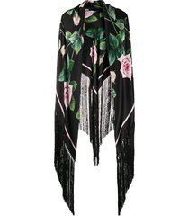 dolce & gabbana tropical rose fringed scarf - black