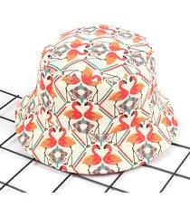 cappellino da pescatore per parasole esterno in tela con stampa flamingo