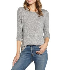 women's gibson cozy fleece fitted top, size xx-large - grey