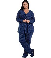 pijama longo amamentação/gestante plus size luna cuore