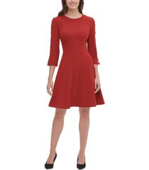 tommy hilfiger button-sleeve fit & flare dress