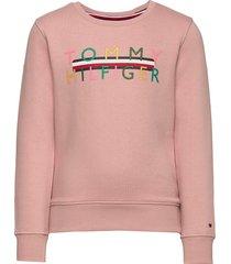 iconic logo crew swe sweat-shirt trui roze tommy hilfiger