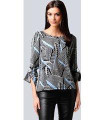 blouse alba moda zwart::offwhite::blauw