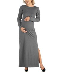 24seven comfort apparel form fitting long sleeve side slit maternity maxi dress