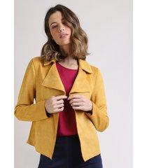 blazer feminino em suede com recorte amarelo