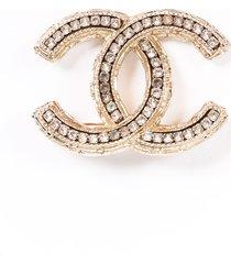 chanel gold tone crystal cc brooch silver/gold/logo sz: