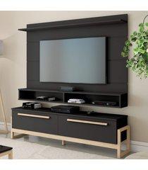 painel e rack para tv baron preto natural casah - preto - dafiti